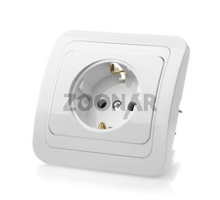 White wall power socket