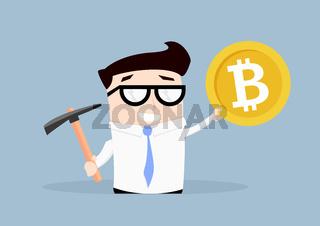 Businessman Bitcoin Mining