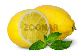 Half and whole lemons with mint