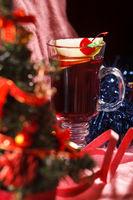 Christmas Background Tea Time. Selective focus.
