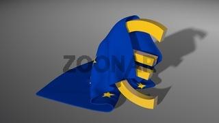 Euro sign . Money symbol under European Union flag