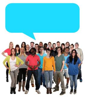 Menschen Multikulturell People Gruppe junge Leute Sprechblase Textfreiraum Copyspace