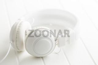 White vintage headphones.