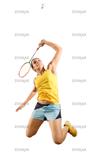 Woman badminton player (version with shuttlecock)