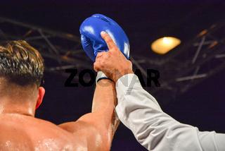 Boxer raising his arms