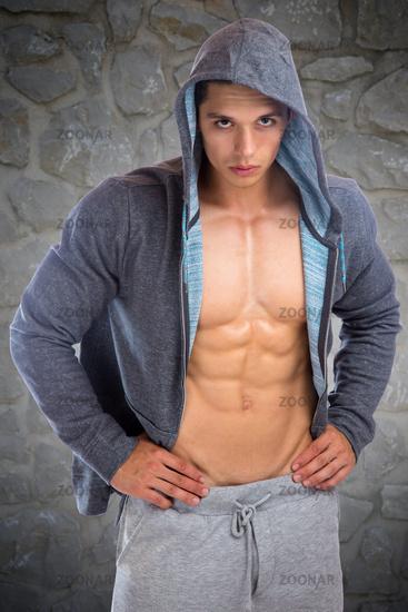 Bodybuilder Bodybuilding Muskeln Hoodie Body Building Mann muskulös jung Jacke