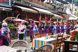 folk musicians on West Street in Yangshuo city