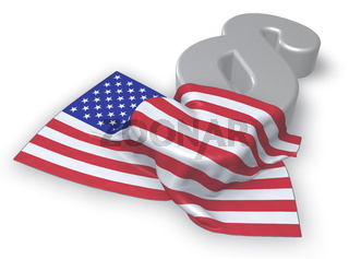 flagge der usa und paragraphsymbol - 3d illustration