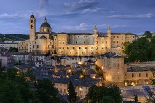 Illuminated castle Urbino Italy