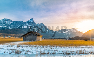 Alpine scenery at  winter sundown
