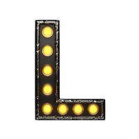 l metal letter with lights. 3D illustration