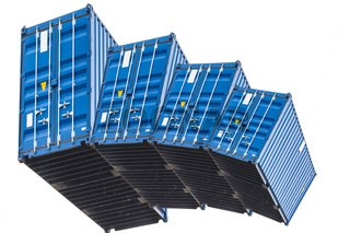 Stack of four blue sea container