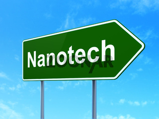 Science concept: Nanotech on road sign background