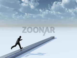 mann läuft auf einem pfeil in richtung horizont - 3d illustration