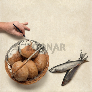 Painting five small barley loaves and two small fish