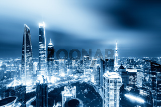 cityscape and skyline of shanghai at twilight