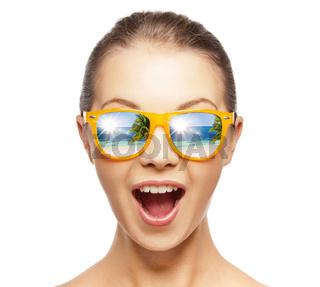happy screaming teenage girl in shades