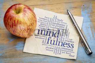 mindfulness word cloud on napkin