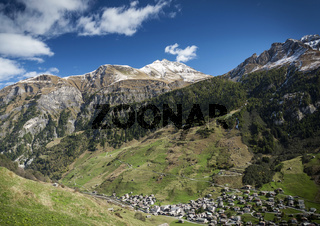 vals village alpine valley landscape in central alps switzerland