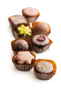 Various chocolate pralines.