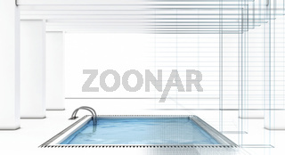 Luxury swimming pool with wire-frame