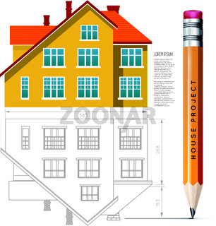 House icon and drawing with a pencil