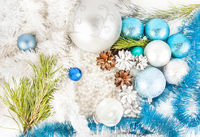 New year decorations on white background