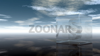 paragraphsymbol in glaswürfel unter wolkenhimmel - 3d illustration