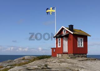 Das Lotsenhaus auf der kleinen Insel Vrångö an der schwedischen Westküste nahe Göteborg.