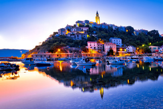 Town of Vrbnik harbor view morning glow