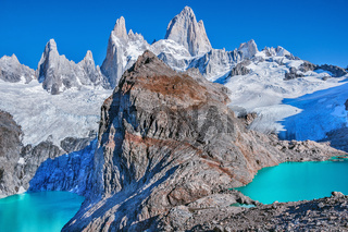 Los Tres and Sucia lakes by Fitz Roy mountain.