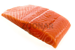 Salmon Fillet as closeup on white background