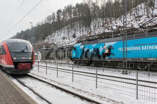 Zugkreuzung in Bad Schandau