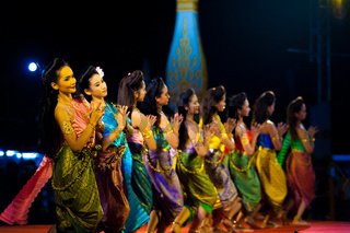 Row Female Thai Traditional Dancers Night Stage
