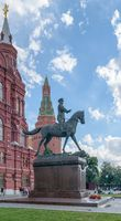 Monument of Marshal Zhukov near the building of the Historical Museum on Red Square