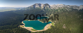 Aerial panorama of Black Lake in Montenegro