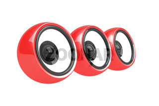 three red speakers audio system isolated
