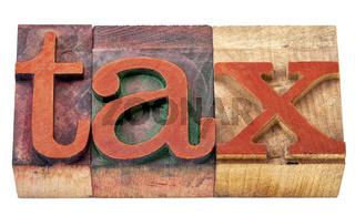 tax word  in wood type