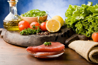 Raw Tuna Steak with Ingredients arround