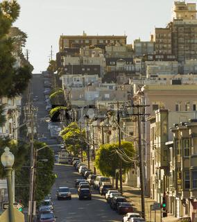 Uphill street in San Francisco