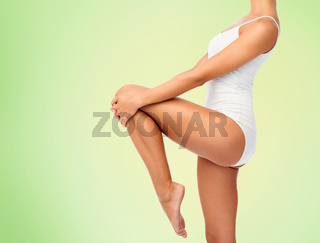 close up of young woman body in white underwear