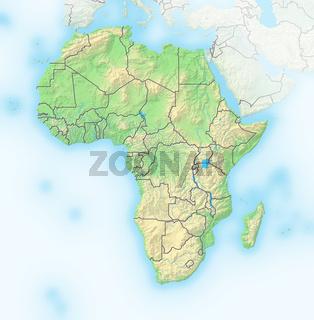 Afrika, Reliefkarte.