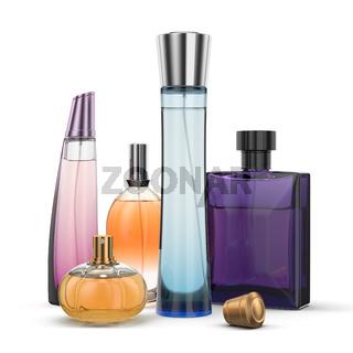 3D rendering group of perfume bottles