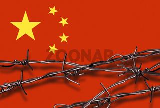 Flagge von China mit Stacheldraht