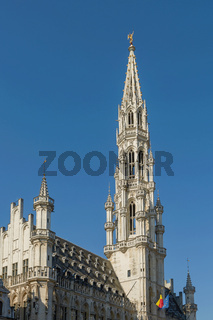 Detail of the city hall tower in Brussele, Belgium