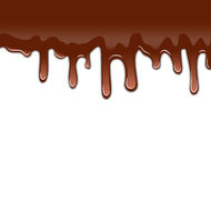 Melted chocolate syrupy drips isolated on white background, sweet dessert