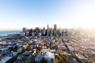 cityscape and skyline of san francisco with sunbeam