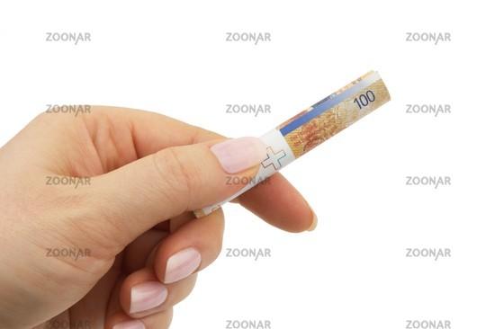 Gerollter Geldschein Schweizer Franken