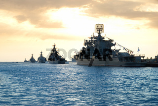 Row of military ships