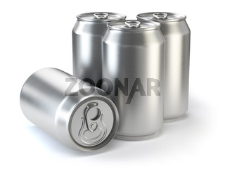 Aluminium beer cans  isolated on white.